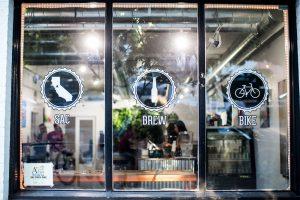 Glass window of the Sacramento Brew Bar