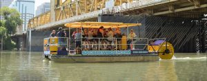 Experiencing the Sacramento River waterfront on the Sac Brew Boat.